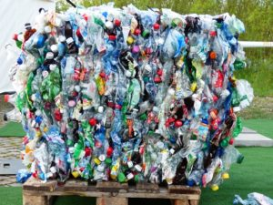 PET bottles processed with a plastic baler
