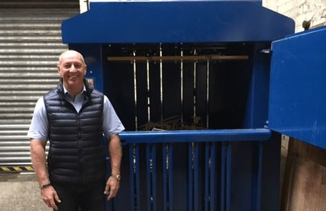 Steve Tailby with Riverside Waste Machinery waste baler